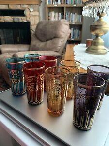 Set of 8 Vintage 6 Oz Juice Glasses Red Blue Gold Purple Gold Etch Design