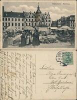 Ansichtskarte Düsseldorf Marktplatz Markttreiben 1912