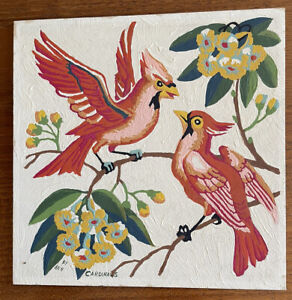 Vintage Paint By Number Cardinals By Craftint 8x8 Midcentury Birds