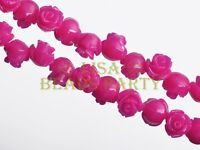 30pcs 8mm Flower Rose Synthetic Coral Loose Spacer Beads Findings Rose
