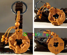 Chinese Classical Fine Wood Carving Lucky Dragon statue Keyring Key Chain