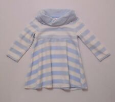 "Gymboree ""Girls Best Friend"" Cowl Turtleneck Blue White Striped Velour Dress, 2T"