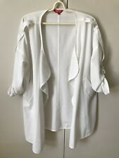 Hstyle Chiffon Light Jacket SiZe S 6-8 White Open Front 3/4 Sleeves