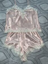 New listing Vtg Satin Victoria's Secret 2 Pc Cami & Flutter Tap Panties L Pink Sissy Panty