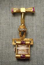 Vintage Retro Deco 14K Gold Diamond Ruby Lapel Watch Brooch Blancpain Swiss Mvt