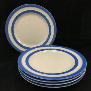 T.G Green Cornishware Dinnerplates x 5 Blue Banded Pottery Ceramic Table 308069
