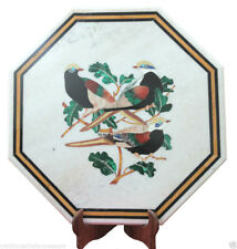 """18"""" Exclusive White Marble Marquetry Table Top Inlaid Malachite Birds Decor Art"""