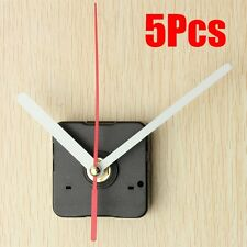 5Pcs Wall Quartz Clock White & Red Hands Movement Mechanism DIY Repair Tool Kits
