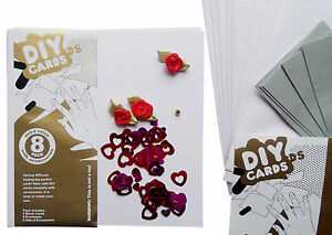 DIY CARDS 8 Set Square Card Roses Flowers Make Your Own Special One Valentines