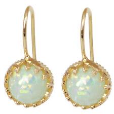 White Fire Opal Silver Ear Stud Earrings for Women Fashion Wedding Party 8C