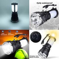 Solar Power Rechargeable LED Flashlight Camping Hiking Tent Light Lantern Lamp