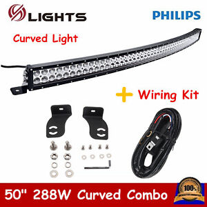 Curved 288W 50inch LED Light Bar Fog ATV Truck Driving 4WD UTE US CA+ Wiring Kit