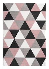 Teppich Weiß Grau Rosa Schwarz Skandinavisch Geometrisch Kunstfaser Pflegeleicht
