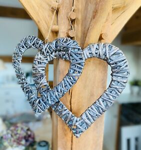 Grey wash Willow Wicker Hanging Heart Wreath Shabby Chic Wall Hanging Decoration