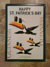 Guinness Beer St Patricks Day Tucan Bird Embossed Tin Sign Game Room New Irish