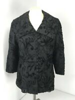 VTG Hong Hong Black Victorian Jacket S/M Metallic Embroidered Evening Black