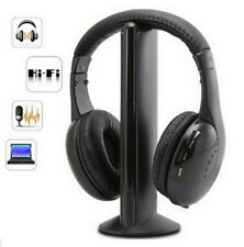 5 in 1 HIFI Wireless Headphone Cordless Headset Earphone RF For MP3 PC TV CD FM