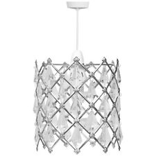 KLiving B22 60 Watt 8 Diamond Acrylic Bead Non Electric Pendant, Silver/Clear