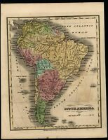 South America 1835 Finlay scarce American made hand color old map