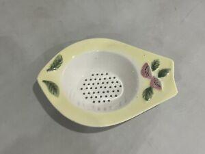 Vintage Porcelain China Tea Strainer, Lemon Coloured with Raised Floral Design