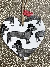 ❤️ Cute Sausage Dog Wooden Heart Keepsake Tag Home Decor Gift Dachshund