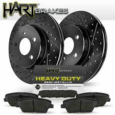 [FRONT] Black Hart *DRILLED & SLOTTED* Disc Brake Rotors + Heavy Duty Pads F2537