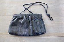 Vintage 80s Blue SNAKESKIN Snap Closure Clutch Shoulder Bag Purse