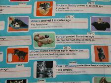 CAT TWEETS CATS TWITTER INSTAGRAM FACEBOOK MESSAGES COTTON FABRIC FQ