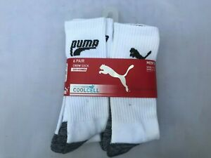 Puma 6 Pair Coolcell Coussinee Socks Cushioned White/Black Size10-13 Shoe 6-12