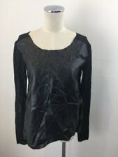 NWT SEED HERITAGE Black Leatherette + Knit Top sz XS 8 10 RRP$119 [ls