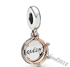 Authentic Pandora Charm 788255 Rose Gold Silver Queen & Regal Crown Dangle