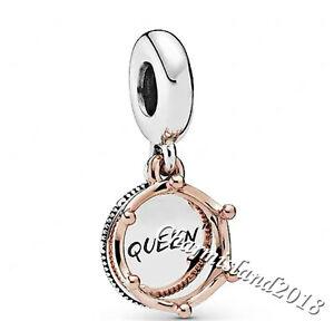 Authentic Pandora Charm 788255 Rose Gold Silver Queen & Regal Crown Dangle