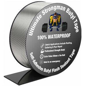 Waterproof Butyl Tape Adhesive Sealant 50mm 5 Metres Strong Roof Repair Rubber
