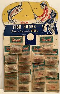 VINTAGE KIRBY FISH HOOK DEALER DISPLAY ADVERTISING CARD RAINBOW TROUT