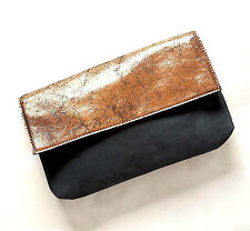 NEW NWT $78 ANTHROPOLOGIE BLACK & GOLD METALLIC LEATHER HANDBAG CLUTCH BAG RARE