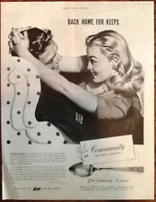 Community silverware 1944 original vintage ad Soldier WWII art war bonds 1940s