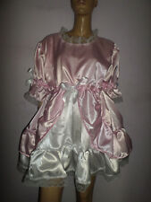 "ADULT BABY SISSY PINK WHITE SATIN bo peep  DRESS 52"" PRETTY  FRILL HEM"