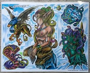 "Tattoo Flash Single Sheet Print by William Webb Medusa Fantasy Creatures 11""X14"""