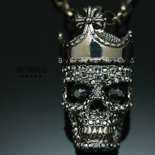 Crowned Skull King Pendant Necklace Black Crystal Hip Hop Biker Mens Jewelry