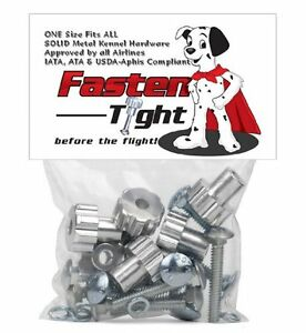 Fasten Tight - Kennel/Crate Metal Hardware Fasteners- Nuts Bolts Silver-8pk