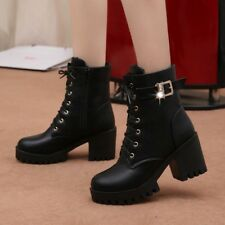 Womens Round Toe Lace up Ankle Boots Casual High Platform Block Heel Buckle Boot