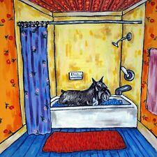 schnauzer taking a bath bathroom picture ceramic dog art tile pet gift coaster
