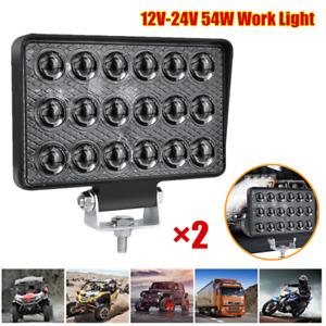 2PC 54W Car/Motorcycle/Truck Work Light Flood Bar Driving Fog Lamp 12V-24V 6000K