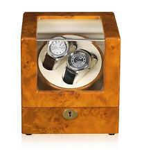 New Automatic Rotation 2 Watch Self-Winding Case Wood Display Box Japan Motor