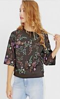 NWT $69.50 Women's, Buffalo David Bitton, Embroidered Floral Black Sweatshirt, S