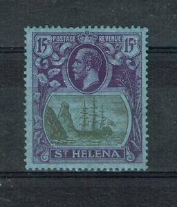 ST HELENA - KGV 1922 SG 113 15s GREY AND PURPLE/BLUE NICE MINT RARE STAMP