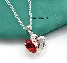 Silver Ruby Red Rhinestone Heart Women Party Necklace Pendant Wedding Jewelry