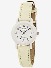 Casio Ladies LQ139L-9B Light Beige Genuine Leather Casual Dress Watch NEW Nice