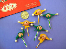 VINTAGE,COLLECTIBLE, 6 MINI, GREEN & YELLOW JESTERS, Vintage Stock~1960-1970's