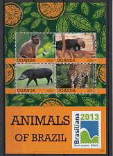 Uganda 2013 MNH Animals of Brazil 4v M/S Brasiliana Tapir Jaguar Tayra Capuchin